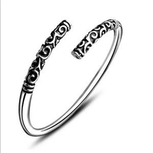 Jewelry - 925 Silver Plated Boho Carved Bangle Open Cuff
